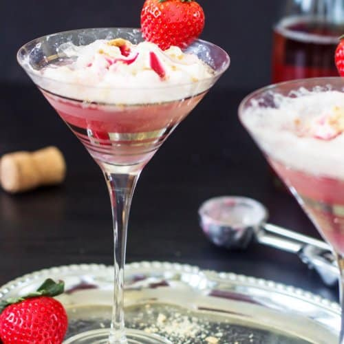 Wine and ice cream float in a martini glass on a silver platter