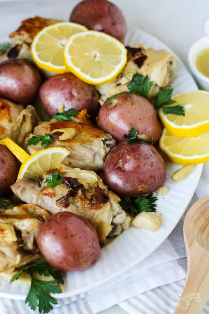 Creamy potatoes and garlicky chicken from an instant pot