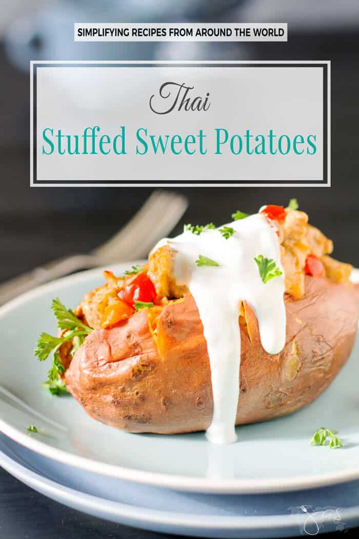 Quick and easy dinner solution, these Thai stuffed sweet potatoes combine sweet and spicy for a delicious meal.