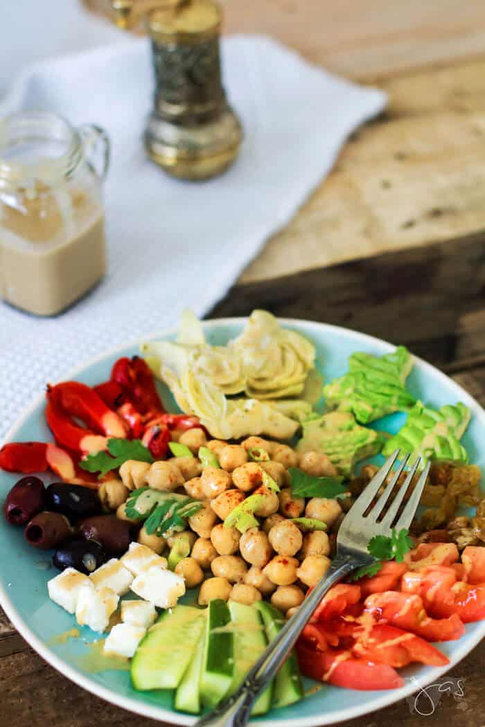 Delicious Lebanese chickpea salad with smoky tahini dressing recipe
