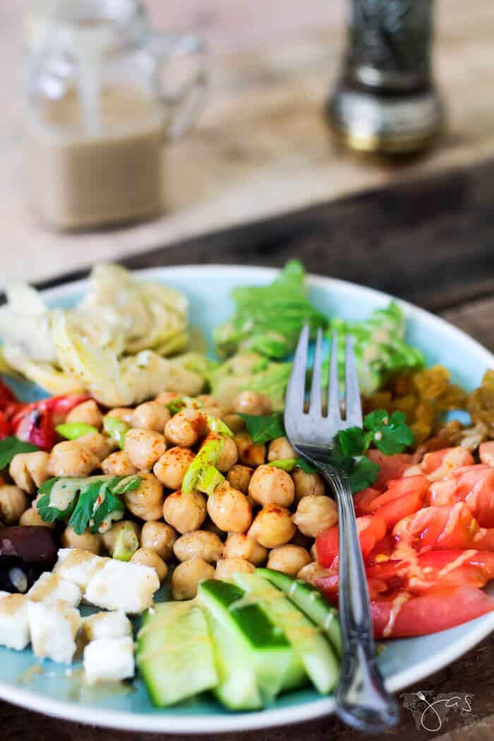 Amazing smoky dressing over fresh chickpea salad