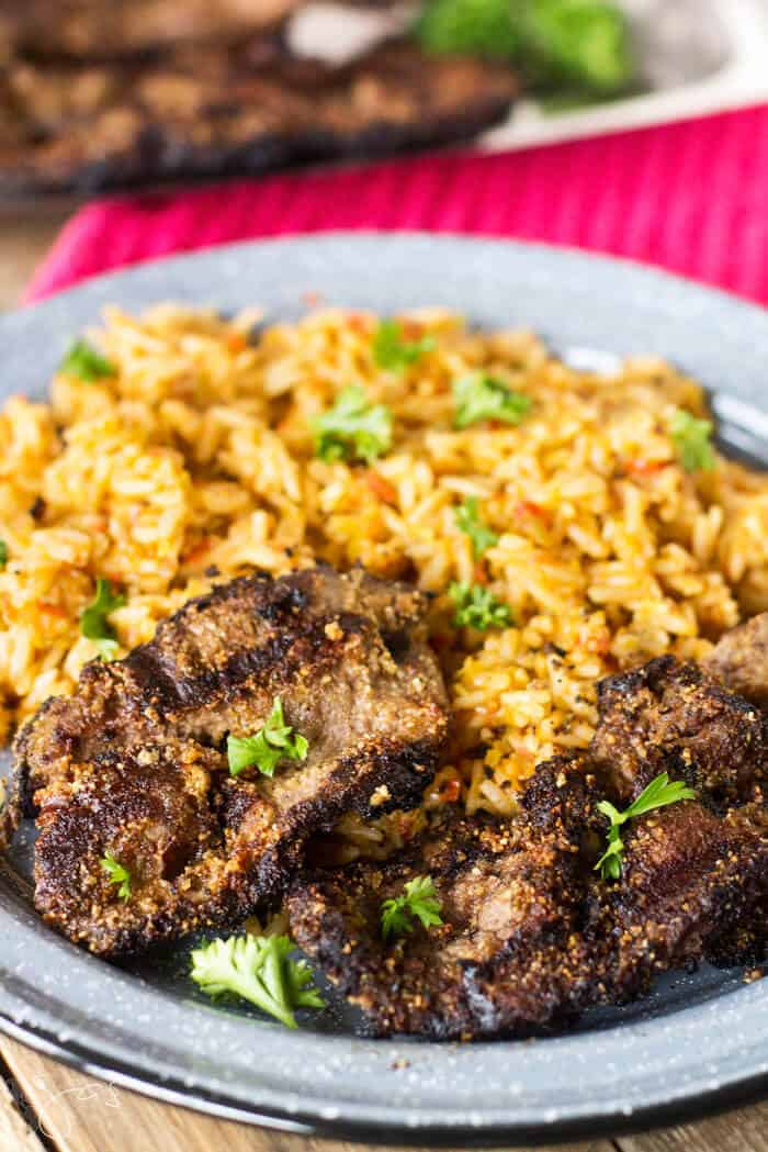 These Nigerian beef kebabs are delicious served with rice.