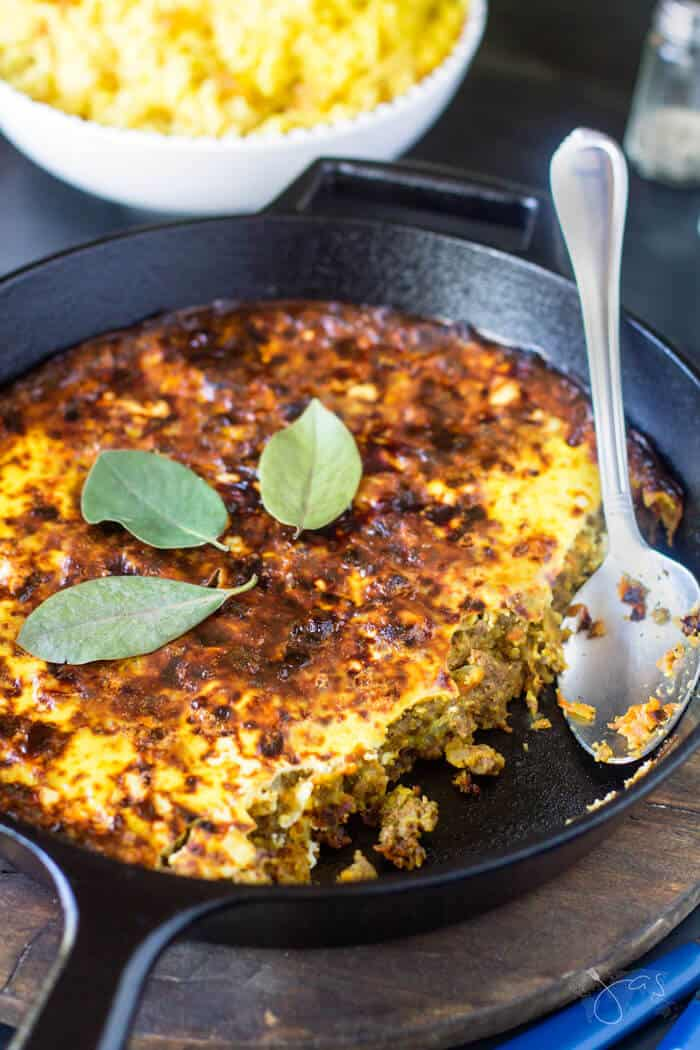 This bobotie dish is prepared and served in one pan.