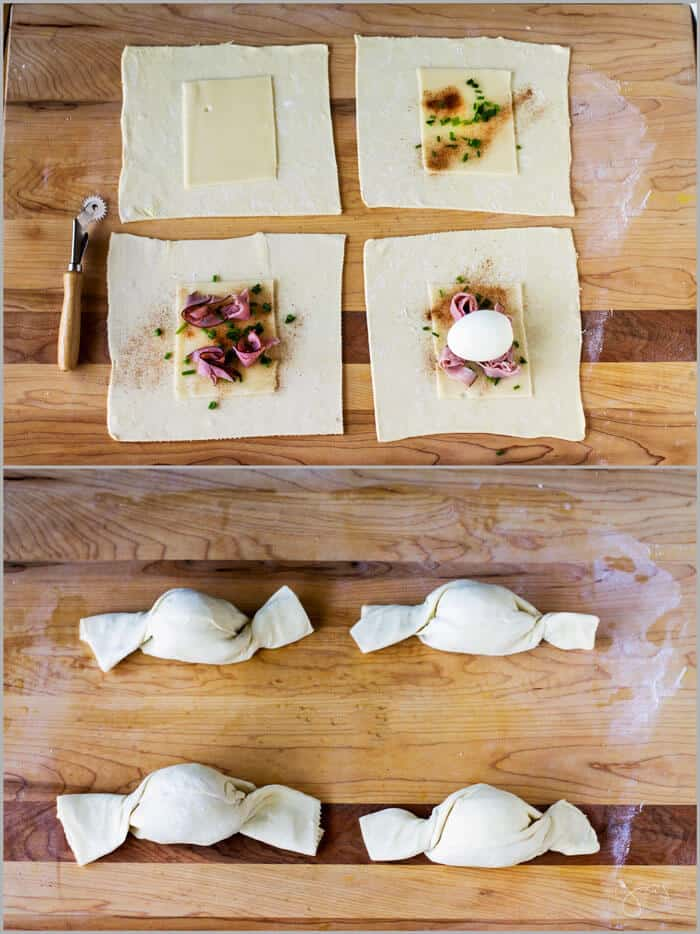 assembling of puff pastry with eggs, ham, and cheese.