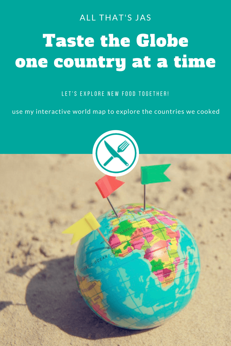 Taste the Globe - one country at a time. Use this interactive world map to explore the countries we cooked on All that's Jas. To begin your tour, simply click a pin and then link to all recipes from that country. | allthatsjas.com | #internationalfood #recipes #worldrecipes #map #allthatsjas #cooking #ethnicfood