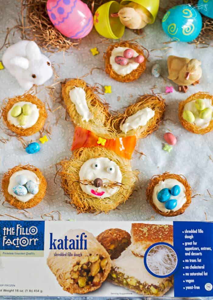 "no-bake cheesecake in kataifi nests and ""creepy"" bunny head"