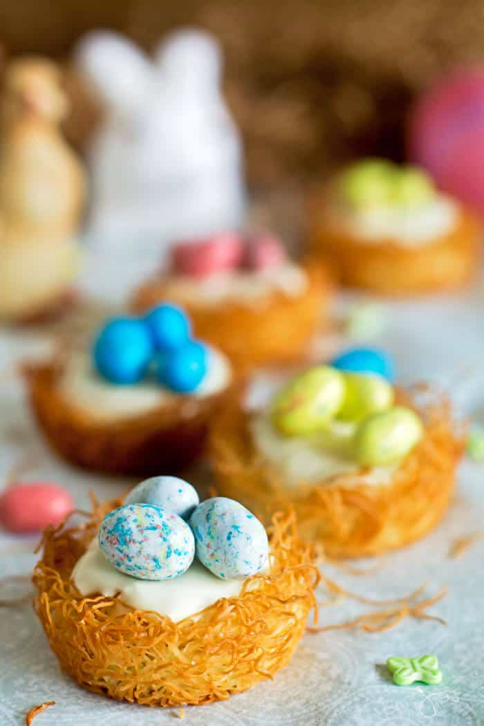 Top these creamy no-bake cheesecake nests with some candy eggs for a sweet Easter treat