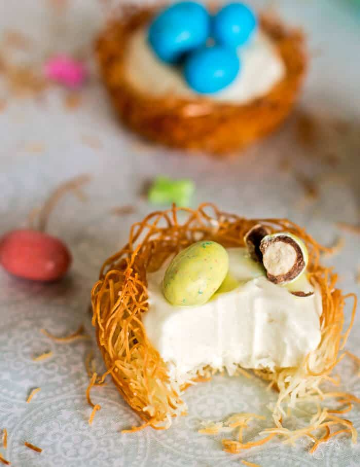 Take a sweet bite out of these cheesecake nests this easter!