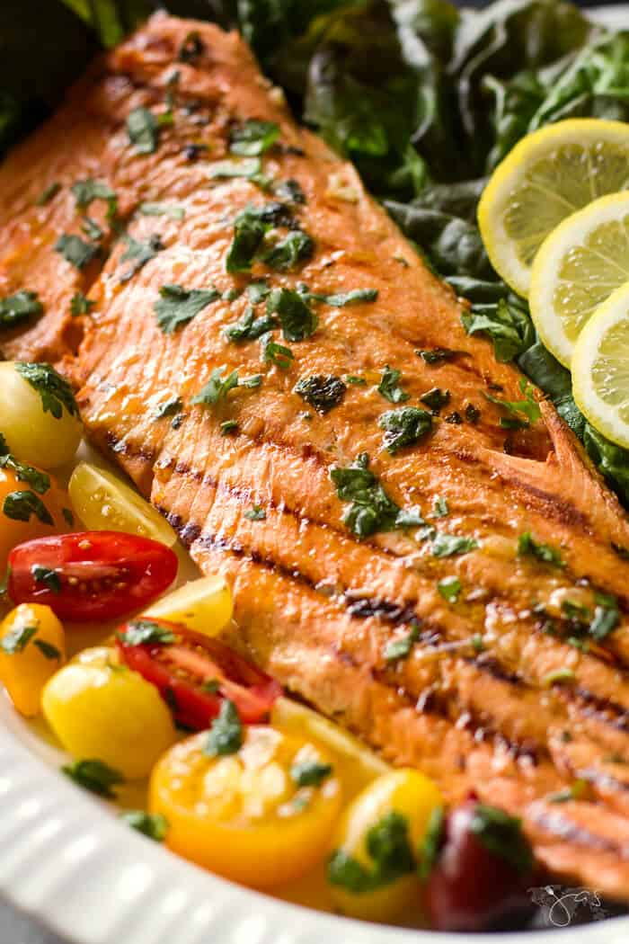 Fresh herbs and spices add flavor to this grilled salmon.