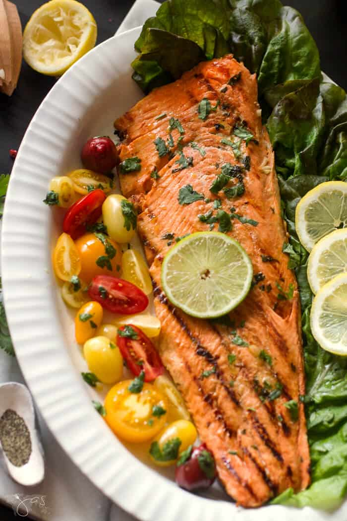 This Cuban marinated salmon is best served with fresh lemon wedges.