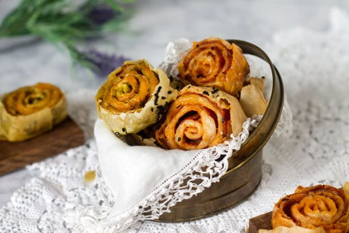 Twice-Baked Two Ways Fillo Pinwheels | All that's Jas
