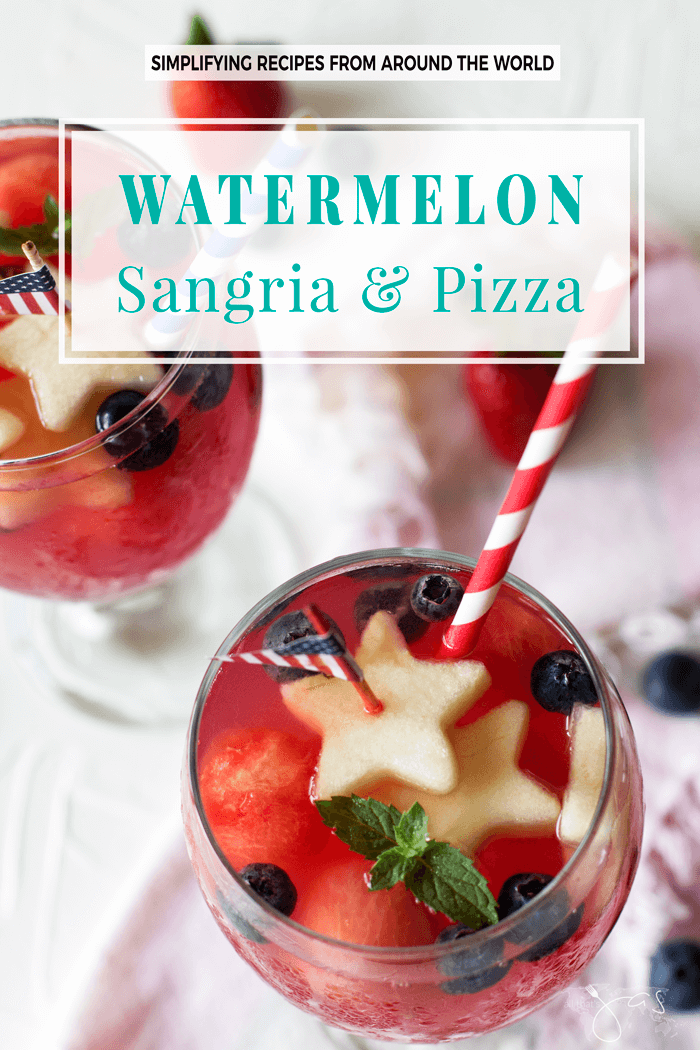 This watermelon sangria and infused pizza are THE two hot summer items for your adults-only party. Patriotic red white and blue fruit make it perfect for the 4th of July celebration and any other flag-waving occasion.