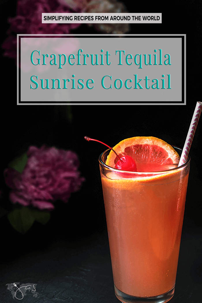 Delicious grapefruit tequila sunrise cocktail