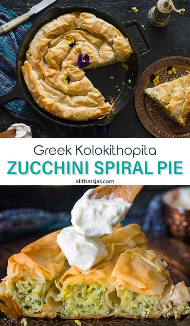 Two photo image of the Greek pie with text overlay in the middle