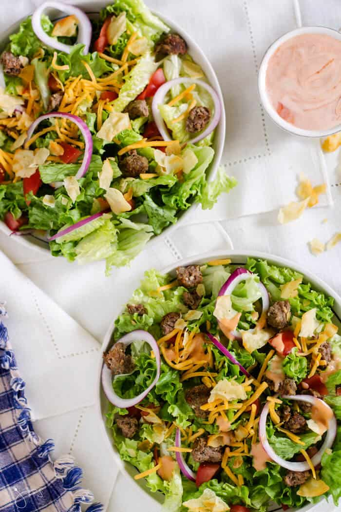 This leftover cheese burger salad is easy and comes together with quick ingredients.