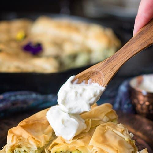 Zucchini Ricotta Spiral Fillo Pie recipe