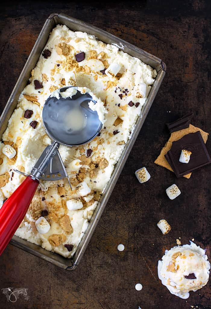 Easy to make s'mores ice cream, no ice cream machine needed.