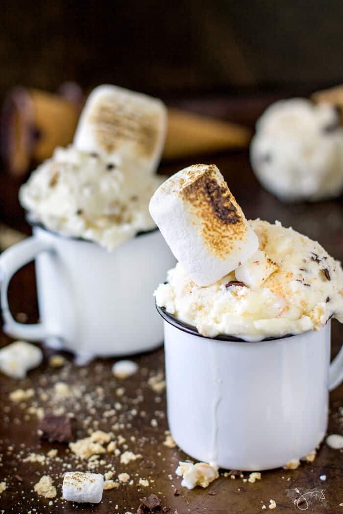 Five ingredient campfire treat in ice cream form - s'mores, in two white mugs