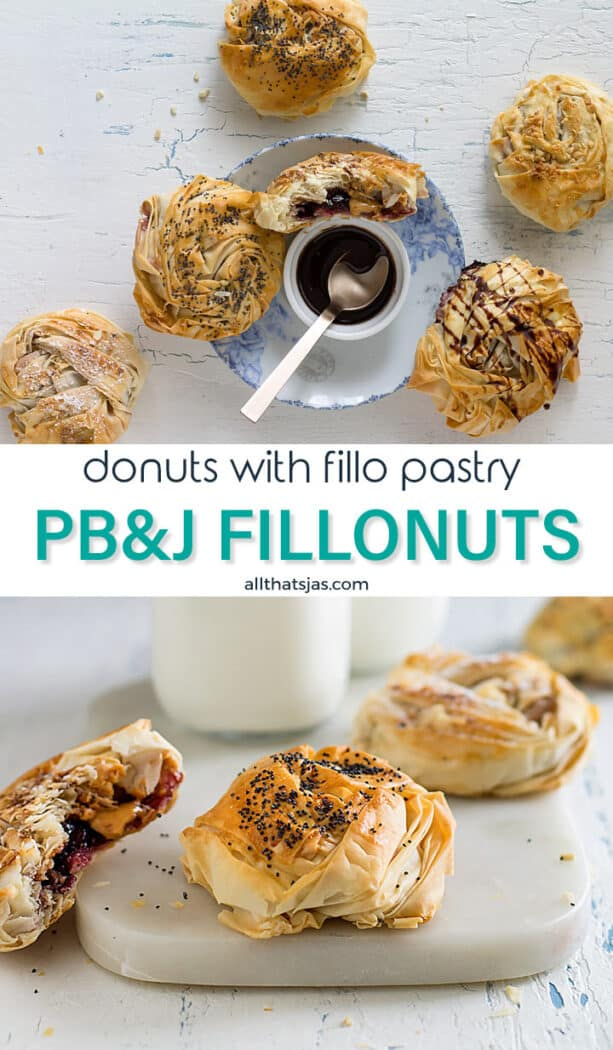 Two photo image of donuts with peanut butter and jelly inside fillo pastry with text overlay in the middle