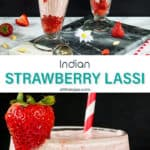 Two photo image of strawberry yogurth Indian beverage with text in the middle.