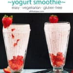 Two glasses with lassi and strawberries on the rim with text overlay.