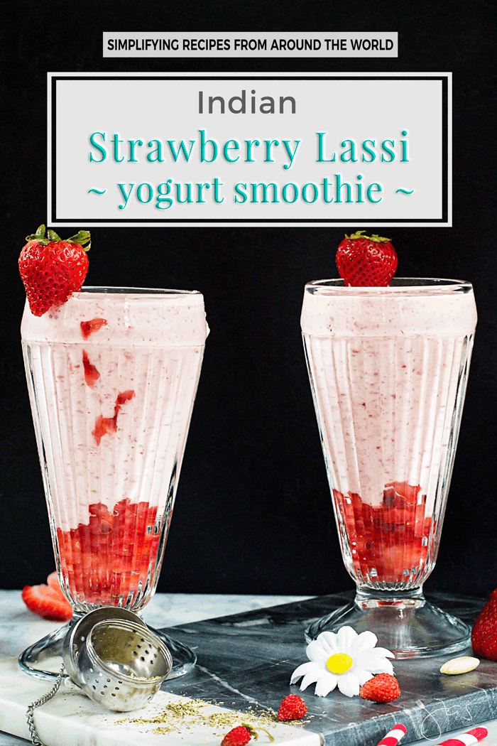 Indian Strawberry Lassi Yogurt Smoothie You will love this popular traditional Indian beverage. It is refreshing, delicious, and incredibly easy to make with strawberries, yogurt, almonds, chamomile tea leaves, cardamom, honey, and milk. | allthatsjas.com | #smoothie #lassi #beverage #summer #recipe #easy #nutritious #Indian