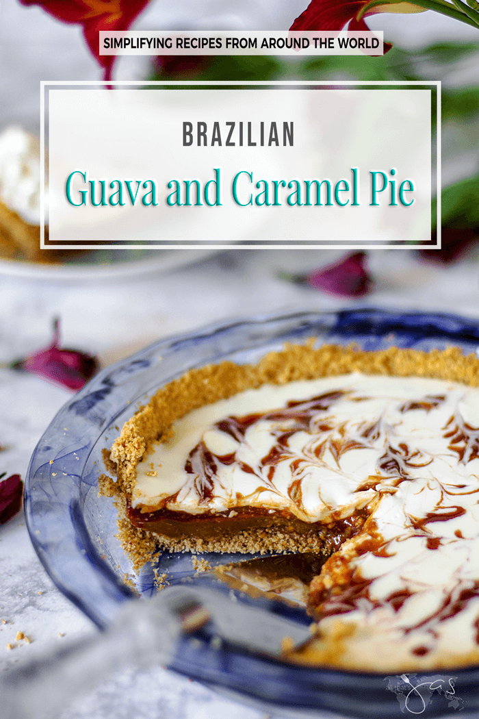 Easy and quick to make Brazilian Guava and Salted Caramel Pie combines guava tropical flavor with the richness of dulce de leche for a heavenly treat. | allthatsjas.com | #pie #guava #caramel #dulcedeleche #saltedcaramel #dessert #recipe #quick #easyrecipe #brazilian #summer #tropical