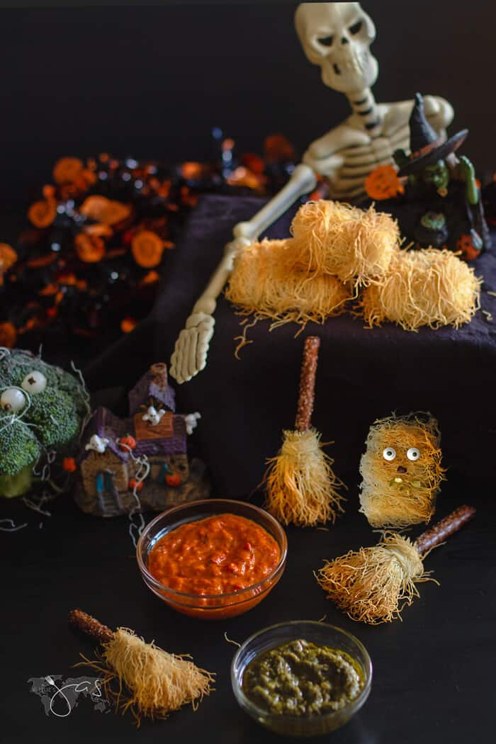 Kataifi nutty monster, broomsticks, and haystacks are perfect Halloween decoration and treats.