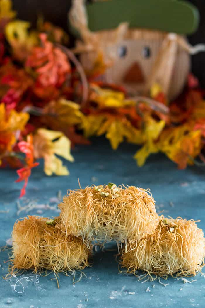 Kataifi rolls as Thanksgiving or fall haystacks treats.