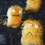 Close up shot of three dhredded fillo dough fun monsters