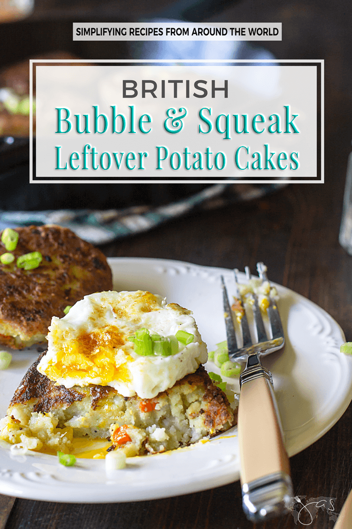 Turn yesterday's leftovers into today's feast with this easy recipe for British bubble and squeak. | allthatsjas.com | #bubbleandsqueak #leftovers #easyrecipe #recipes #breakfast #side #vegetarian #vegan #british #comfortfood #potatoes #cabbages #brusselssprouts #allthatsjas #simple #cakes #healthy