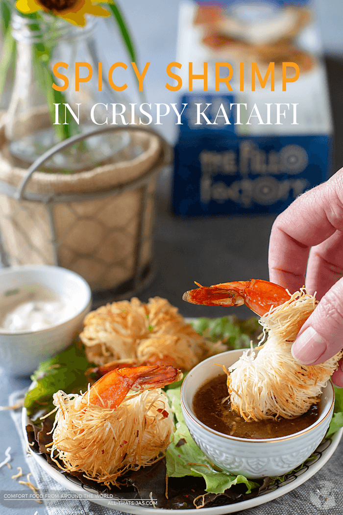 Spicy shrimp in crispy kataifi dough is an impressive dish served with two delicious dipping sauces. It will be a hit at any dinner party. AD | allthatsjas.com | #kataifi #kadaif #shrimp #seafood #recipes #crispy #appetizer #fingerfood #allthatsjas #ovenbaked #aioli #vinaigrette