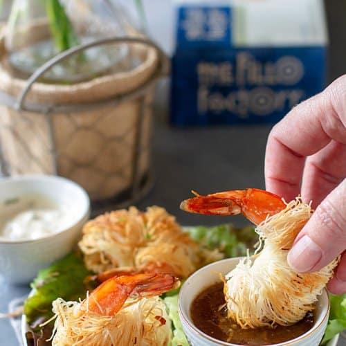 Spicy Shrimp in Crispy Kataifi Dough | allthatsjas.com