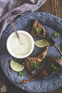 Egyptian way of grilled lamb chops is to serve it with garlic and mint yogurt.