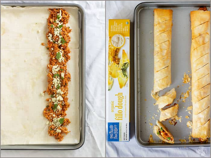 The making of BBQ Buffalo Chicken Stromboli with fillo.