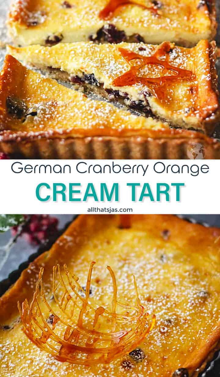 Two photo image of the German cranberry orange dessert with text overlay in the middle.