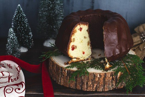 German Marzipan Gugelhupf (bundt cake) with Candied Fruit and Chocolate Glaze | All that's Jas