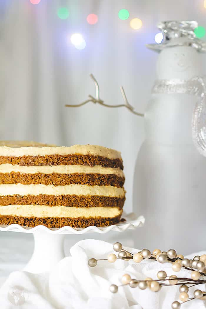 Layers of gingersnap crust and eggnog cheesecake make this delicious cake.