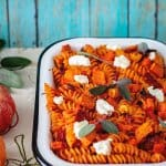 Pumpkin and Goat Cheese Fusilli Pasta Bake | allthatsjas.com