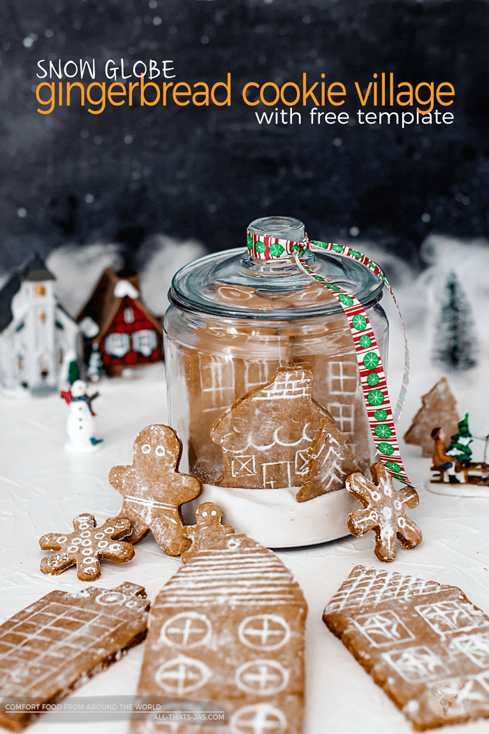 Looking for a traditional German gingerbread cookie recipe? This fun Snow Globe German Gingerbread Cookie Village is delicious and easy to make and includes a FREE template for the German Village. Fun for kids to help baking! | allthatsjas.com | #gingerbread #german #baking #cookies #lebkuchen #christmas #fromscratch #template #cookiehouse #holidaybaking #allthatsjas