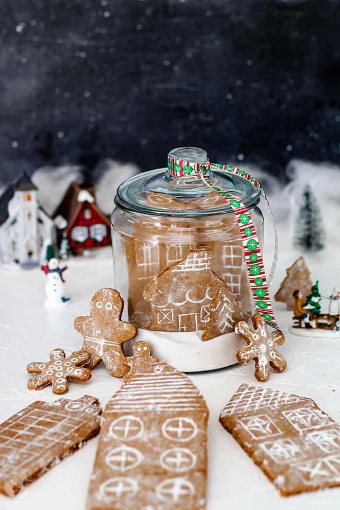 Snow Globe German Gingerbread Cookie Village