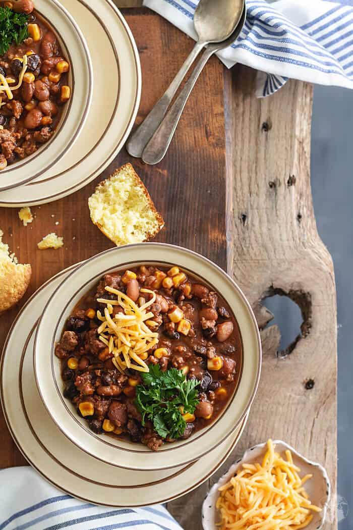 Delicious recipe for Mexican two-bean chili con carne