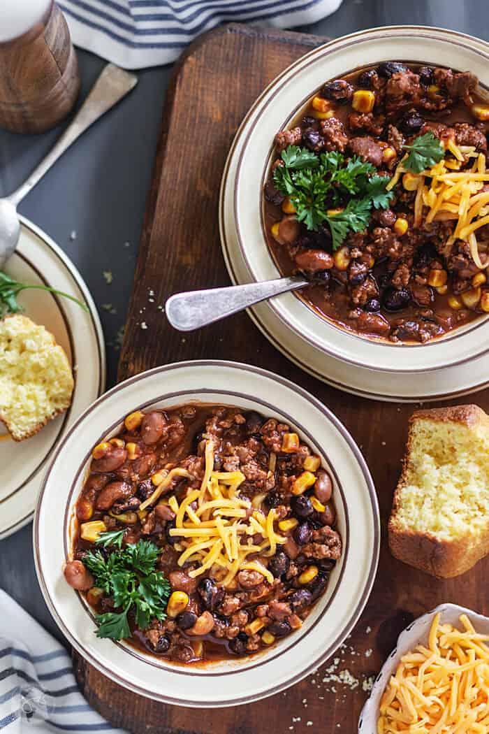 Mexican chili with beef, beans, and corn.