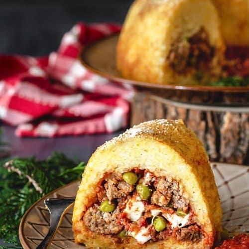 Neapolitan Sausage Meatballs and Rice Timbale - Sartù di Riso alla Napoletana | allthatsjas.com