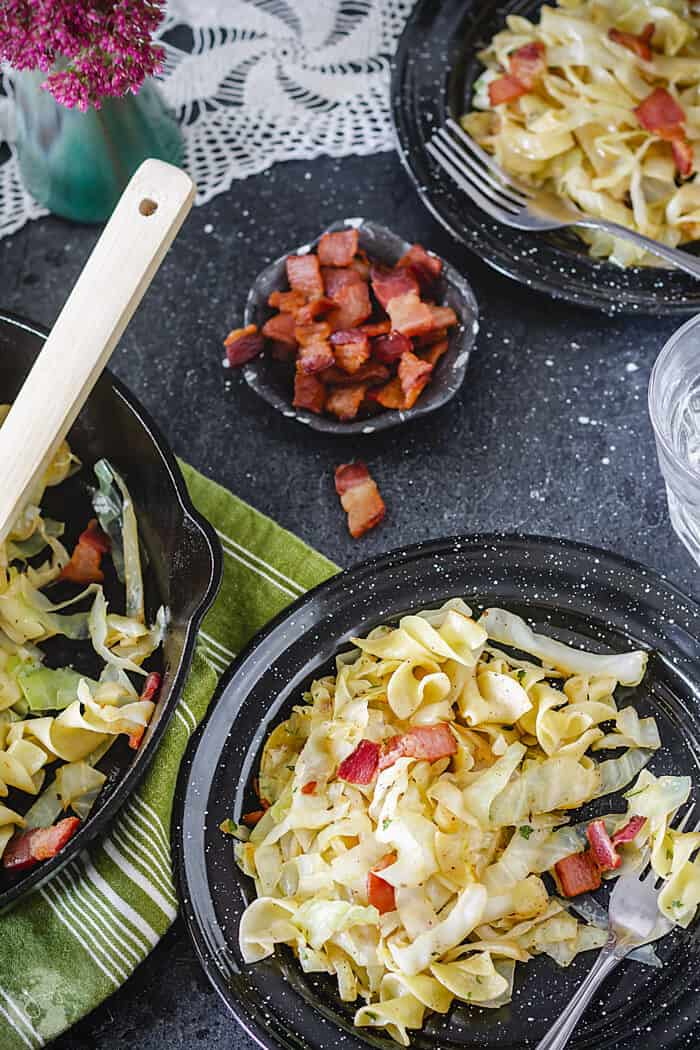 Polish recipe for haluski - noodles and fried cabbage dish with bacon.