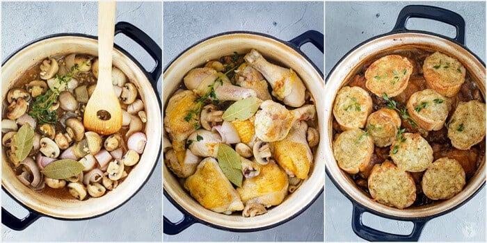 The stages of cooking delicious Coq-à-la-Bière