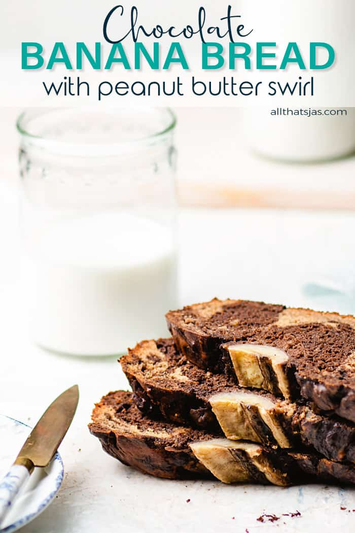Three slices of banan bread with chocolate and peanut butter marble stacked and text overlay.