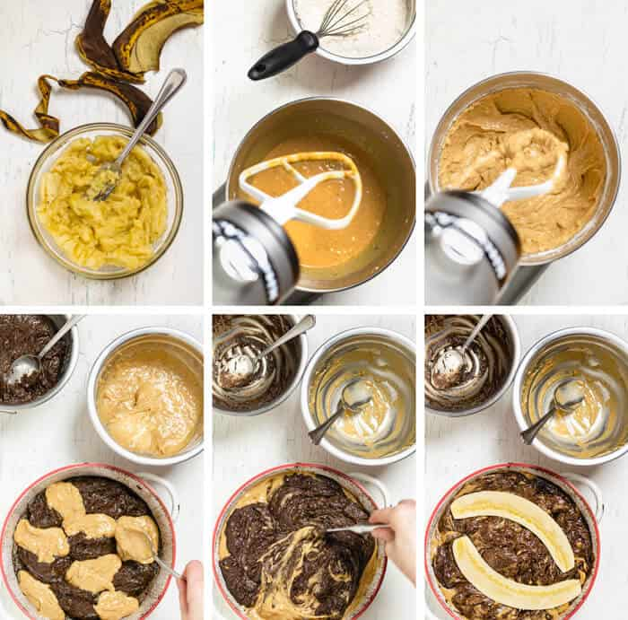 Six steps of making chocolate banana bread.