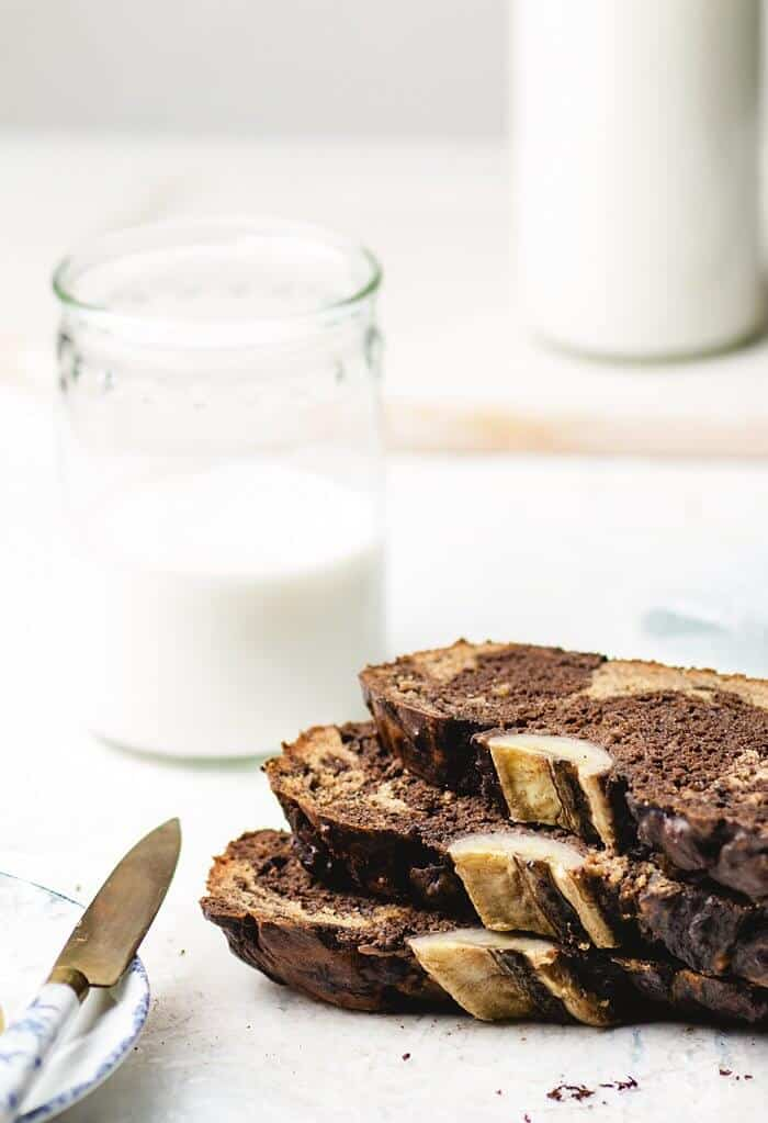 Chocolate and peanut butter banana bread with milk.