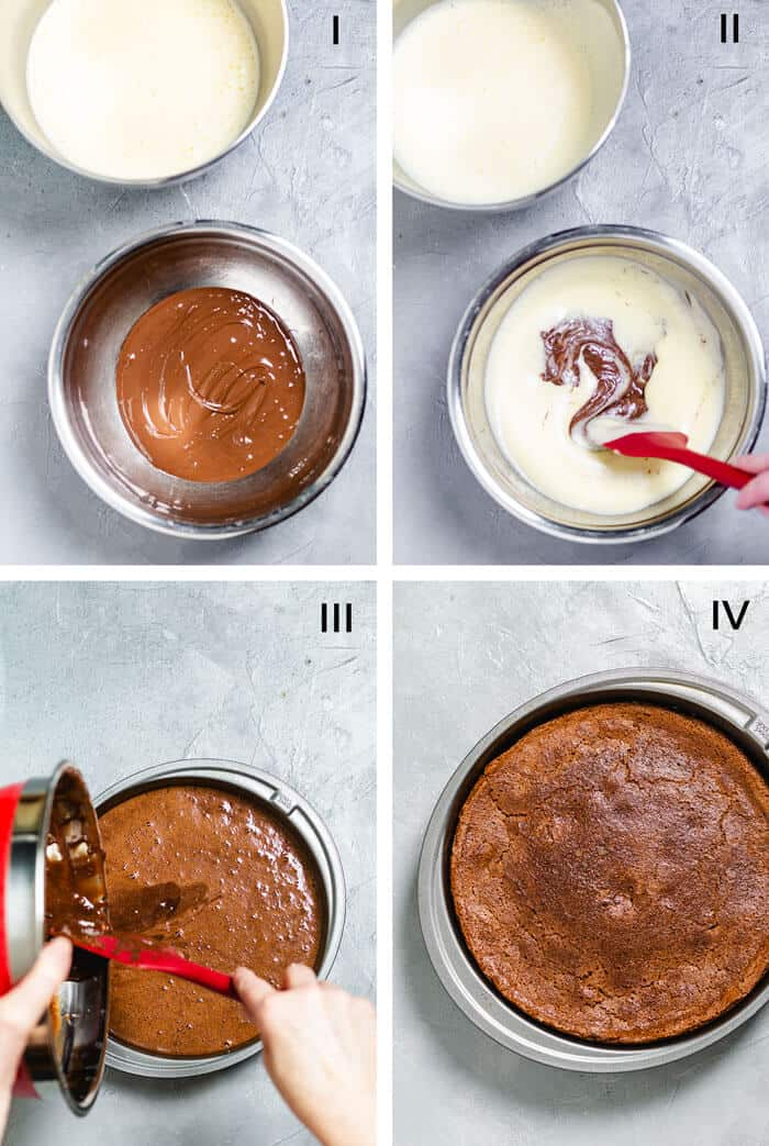 How to make flourless chocolate cake layer - step by step.